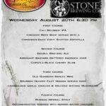 Stone Brewing Company Beer Dinner menu Augus 20