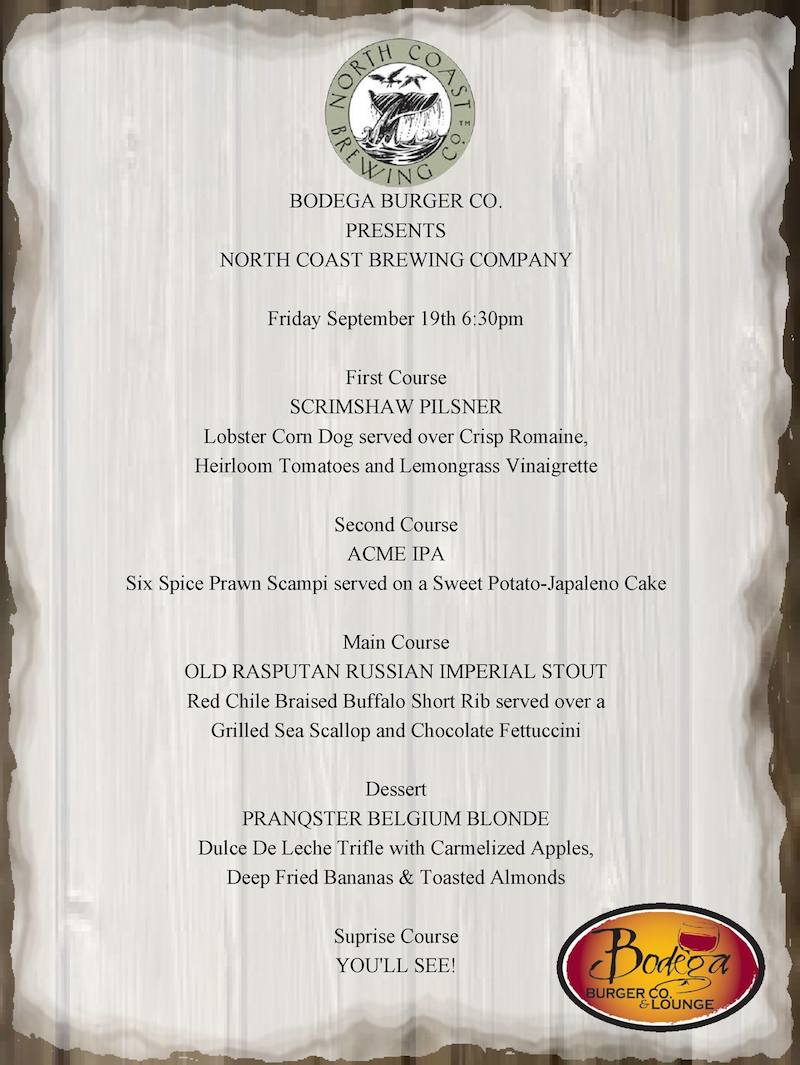 Bodega Beer Dinner September 19